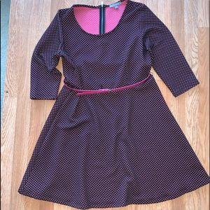NYC Black & Pink Polka dot flare dress